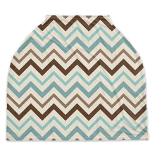 Load image into Gallery viewer, Arctic Blue Chevron Car Seat Cover, Ethnic Nursing Cover