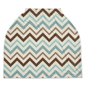 Arctic Blue Chevron Car Seat Cover, Ethnic Nursing Cover
