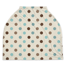 Load image into Gallery viewer, Arctic Blue Dots Car Seat Cover, Ethnic Nursing Cover