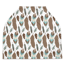 Load image into Gallery viewer, Arctic Blue Feathers Car Seat Cover, Ethnic Nursing Cover