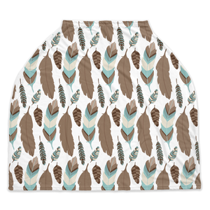 Arctic Blue Feathers Car Seat Cover, Ethnic Nursing Cover