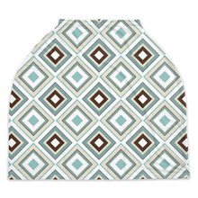 Load image into Gallery viewer, Arctic Blue Rhombuses Car Seat Cover, Ethnic Nursing Cover