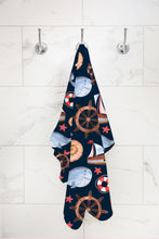 Load image into Gallery viewer, Blue Whale Boat Hooded Baby Towel, Nautical Baby Boy Towel