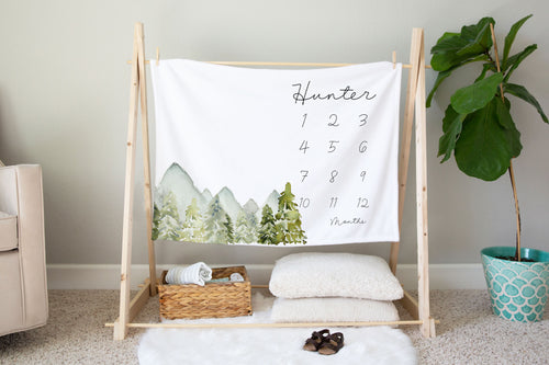Mountains Personalized Milestone Blanket, Forest Baby Monthly Growth Tracker - Wild Green