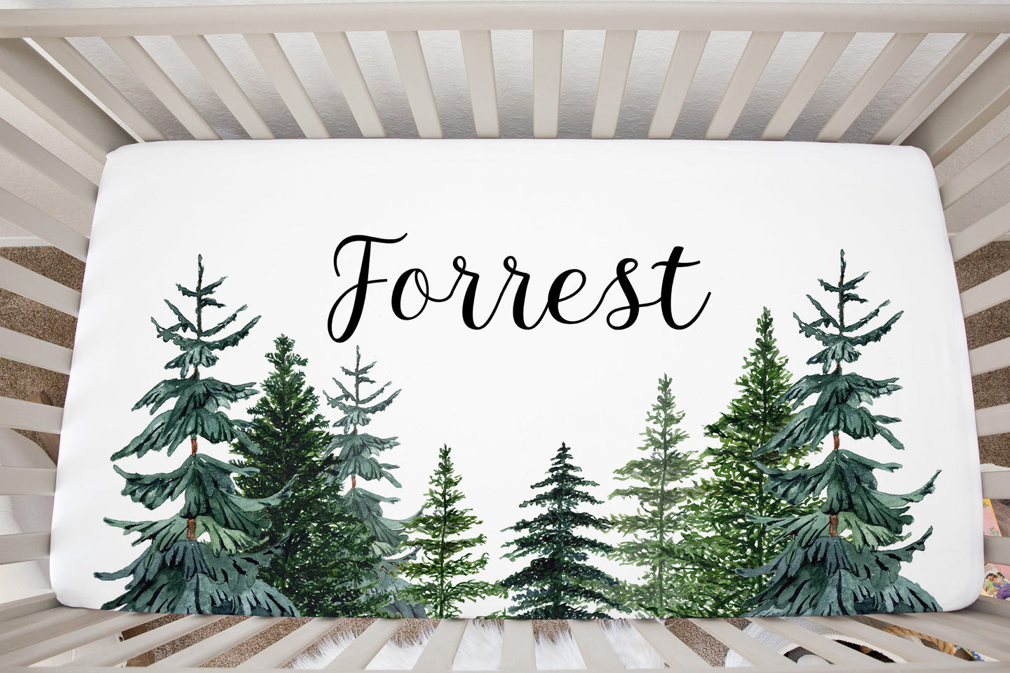 Pine Trees Personalized Minky Crib Sheet, Forest Nursery Bedding - The Forest