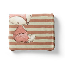 Load image into Gallery viewer, Woodland Tribe Fox Personalized Minky Blanket, Woodland Nursery Bedding