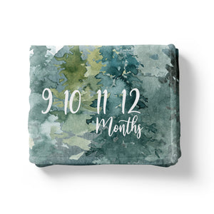Forest and Mountains Milestone Blanket, Woodland Baby Monthly Growth Tracker - Majestic Forest