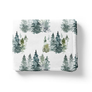 Pine Trees Minky Blanket, Forest Nursery Bedding - Majestic Forest