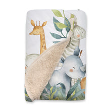 Load image into Gallery viewer, Baby Africa Personalized Sherpa Blanket, Safari Nursery Bedding