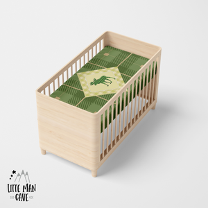 Green Plaid Moose Crib Sheet, Rustic Baby Bedding