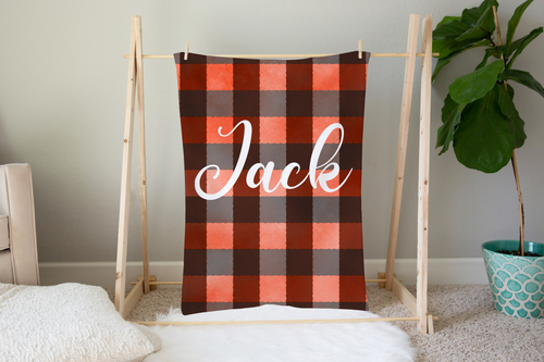 Jack Plaid Personalized Minky Blanket, Lumberjack Nursery Bedding