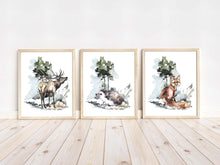 Load image into Gallery viewer, Deer Hedgehog Fox Printable Wall Art, Woodland Nursery Prints Set of 3 - Exotic Forest