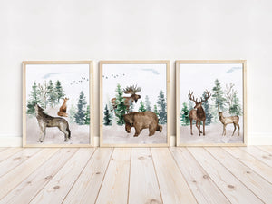 Forest Printable Wall Art, Woodland Nursery Prints Set of 3 - Enchanted Forest