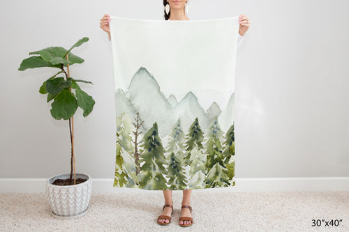 Forest and Mountains Minky Blanket, Woodland Nursery Bedding - Wild Green