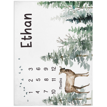 Load image into Gallery viewer, Deer Personalized Milestone Blanket, Woodland Baby Monthly Growth Tracker - Enchanted Forest