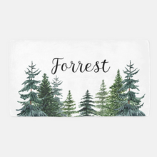 Load image into Gallery viewer, Pine Trees Personalized Minky Crib Sheet, Forest Nursery Bedding - The Forest