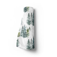 Load image into Gallery viewer, Majestic Forest Minky Blanket, Forest Nursery Bedding