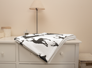 Black Deer Minky Blanket, Rustic Baby Bedding