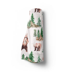 Bear and Trees Minky Blanket, Woodland Nursery Bedding - Grizzly Bear