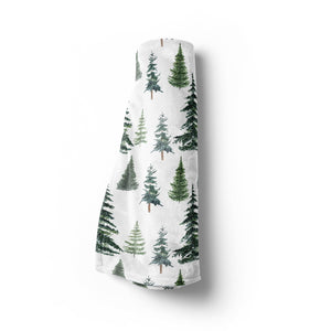The Forest Pine Trees Minky Blanket, Forest Nursery Bedding