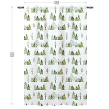 Load image into Gallery viewer, Pine Tree and Mountains Curtain Single Panel, Forest Nursery Decor - Wild Green