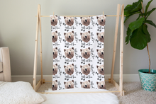 Load image into Gallery viewer, Bear Wild and Free Minky Blanket, Woodland Nursery Bedding - Grizzly Bear