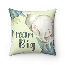 Load image into Gallery viewer, Baby Africa Dream Big Elephant Pillow, Safari Nursery Decor