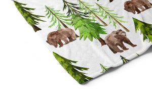 Coniferous Trees and Bear Minky Blanket, Forest Nursery Bedding - Into The Woods