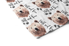 Load image into Gallery viewer, Grizzly Bear Wild and Free Minky Blanket, Woodland Nursery Bedding