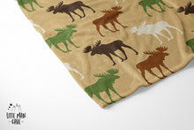 Load image into Gallery viewer, Mix Moose Minky Blanket, Rustic Baby Bedding