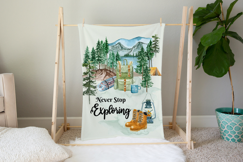 Little Explorer Never Stop Exploring Minky Blanket, Camper Nursery Bedding
