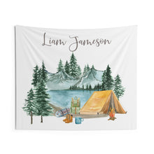 Load image into Gallery viewer, Personalized Camping Tapestry, Camper Boys Room Decor - Little Explorer