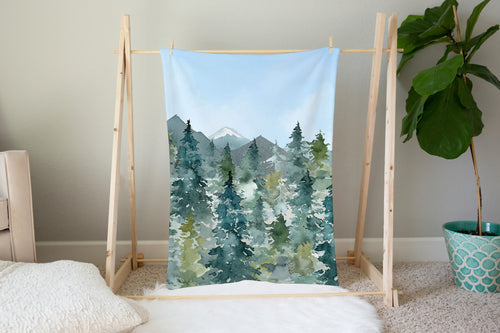 Majestic Forest Blue Skye Minky Blanket, Forest Nursery Bedding