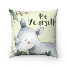 Load image into Gallery viewer, Baby Africa Be Yourself Rhino Pillow, Safari Nursery Decor