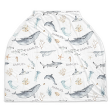 Load image into Gallery viewer, Personalized Under the Sea Car Seat Cover | Ocean Nursing Cover - Deep Ocean