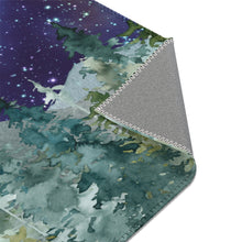 Load image into Gallery viewer, Dark Blue Sky Forest Rug, Woodland Nursery Decor - Majestic Forest