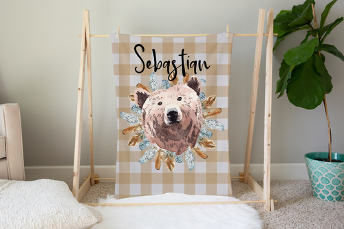 Tribal - BohoGrizzly Bear Face Personalized Minky Blanket, Woodland Nursery Bedding