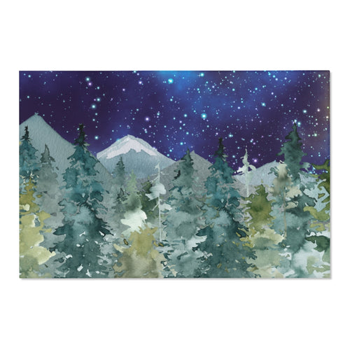Magestic Forest Dark Blue Sky Rug, Forest Nursery Decor