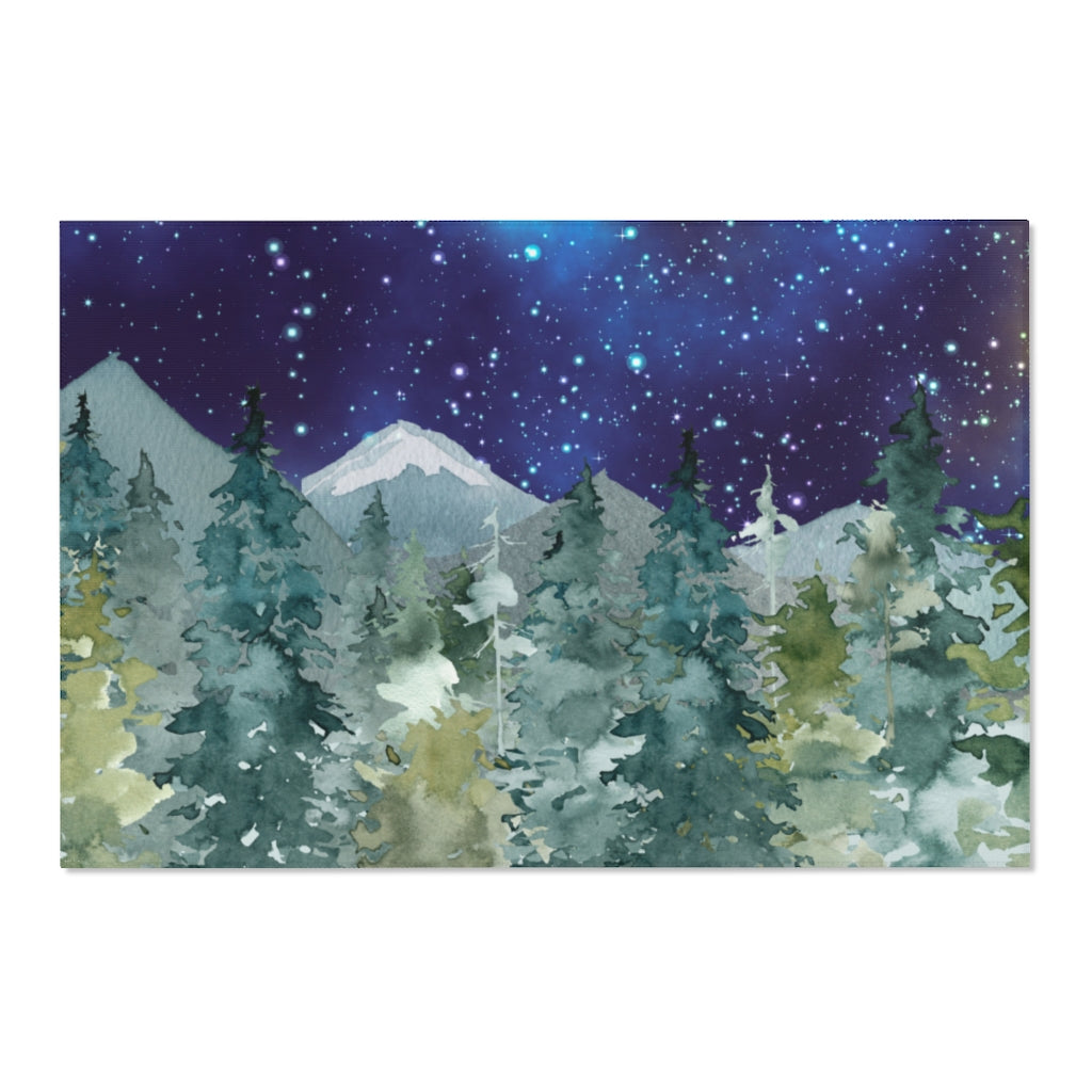 Dark Blue Sky Forest Rug, Woodland Nursery Decor - Majestic Forest