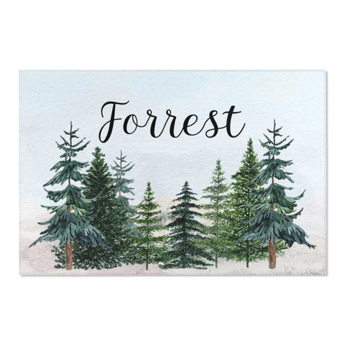 Pine Trees Personalized Rug, Forest Nursery Decor - The Forest