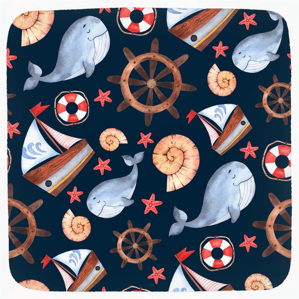 Blue Whale Boat Hooded Baby Towel, Nautical Baby Boy Towel