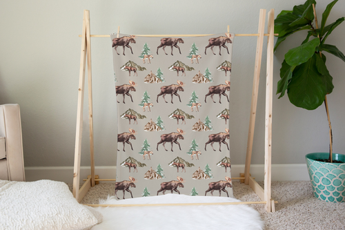 Wild Moose and Trees Minky Blanket, Woodland Nursery Bedding