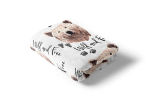 Grizzly Bear Wild and Free Minky Blanket, Woodland Nursery Bedding