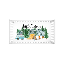 Load image into Gallery viewer, Little Explorer Minky Crib Sheet, Woodland Nursery Bedding