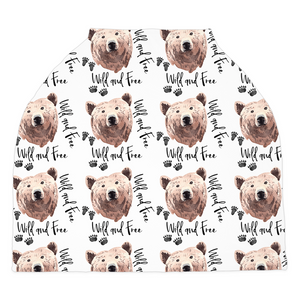 Grizzly Bear Wild and Free Car Seat Cover, Woodland Nursing Cover
