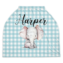 Load image into Gallery viewer, Peanut Personalized Car Seat Cover, Elephant Nursing Cover