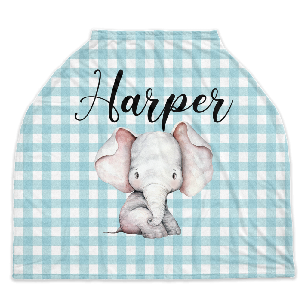 Peanut Personalized Car Seat Cover, Elephant Nursing Cover