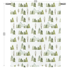 Pine Tree and Mountains Curtain Single Panel, Forest Nursery Decor - Wild Green