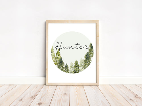 Personalized Circle Forest Wall Art, Woodland Nursery Print Unframed - Wild Green