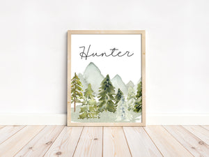 Personalized Forest Wall Art, Woodland Nursery Print Unframed - Wild Green